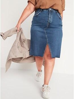 Higher High-Waisted Button-Fly Cut-Off Jean Pencil Skirt