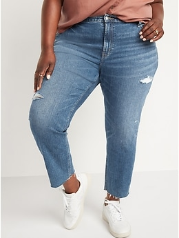 Mid-Rise Distressed Boyfriend Straight Cut-Off Jeans for Women
