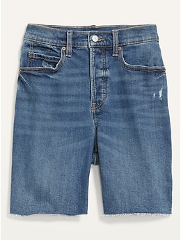 Extra High-Waisted Button-Fly Sky Hi Straight Cut-Off Jean Shorts -- 7-inch inseam