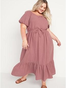 Puff-Sleeve Scoop-Neck Waist-Defined Midi Dress for Women