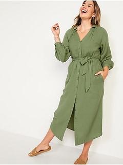 Long-Sleeve Waist-Defined Midi Dress for Women