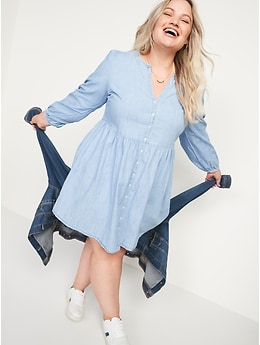 Long-Sleeve Fit & Flare Chambray Mini Dress for Women