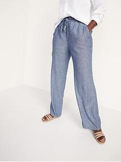 High-Waisted Linen-Blend Wide-Leg Pants for Women
