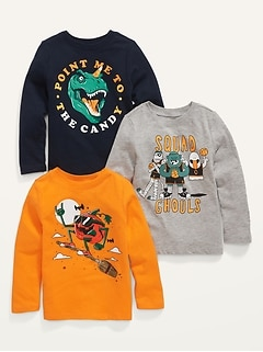 Unisex 3-Pack Long-Sleeve Graphic T-Shirt for Toddler