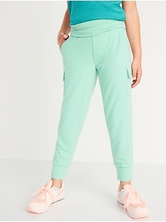 UltraLite Fold-Over-Waist French Terry Cargo Joggers for Girls