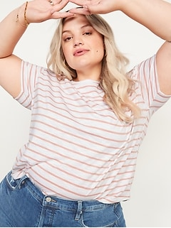 Loose Easy Striped Crew-Neck T-Shirt for Women