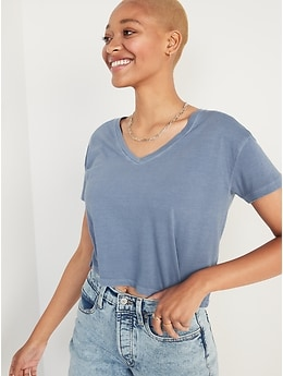 Loose Specially Dyed V-Neck Crop T-Shirt for Women