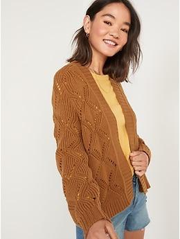 Cardigan en tricot pointelle ouvert à l'avant pour Femme