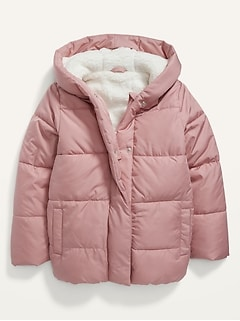 Sherpa Hooded Puffer Jacket for Girls