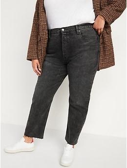 Jean droit coupé à taille très haute avec braguette à boutons pour Femme