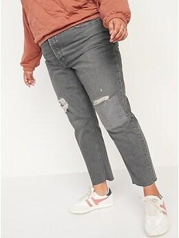 Jean droit non extensible patchwork à taille très haute avec braguette à bouton pour Femme