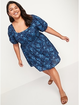 Puff-Sleeve Waist-Defined Floral-Print Smocked Mini Dress for Women