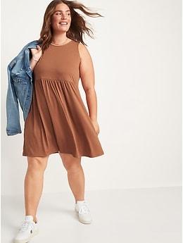 Fit & Flare Slub-Knit Mini Tank Dress for Women