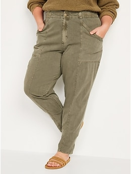 High-Waisted Garment-Dyed Utility Pants for Women
