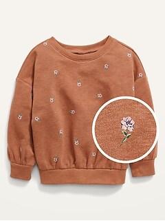 Drop-Shoulder Fleece Sweatshirt for Toddler Girls