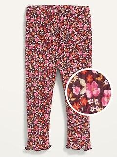 Floral Rib-Knit Leggings for Toddler Girls