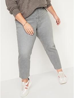 Mid-Rise Gray-Wash Cut-Off Boyfriend Jeans for Women
