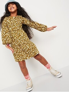 Tiered Printed Long-Sleeve Dress for Girls