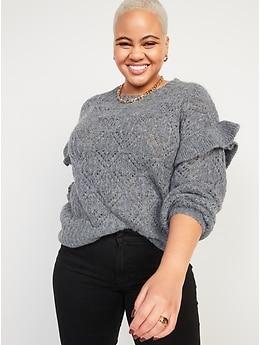 Pointelle-Knit Ruffle-Sleeve Sweater for Women
