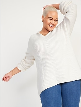 Textured Tunic Sweater Hoodie for Women