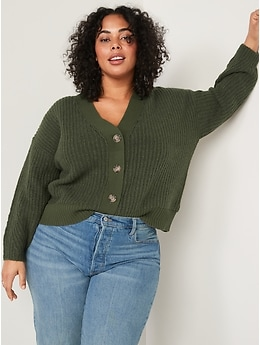 Cozy Shaker-Stitch Button-Front Cardigan Sweater for Women