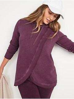 Maternity Vintage Cross-Front Nursing Tunic Hoodie