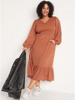 Long-Sleeve Fit & Flare Smocked Clip-Dot Midi Dress for Women