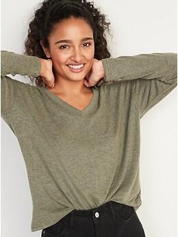 T-shirt surdimensionné à encolure enV en tricot douillet à manches longues pour Femme
