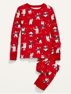 Holiday Matching Graphic Gender-Neutral Snug-Fit Pajama Set for Kids
