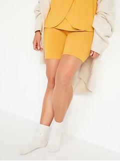 Maternity Rollover-Waist Sunday Sleep Ultra-Soft Rib-Knit Biker Shorts -- 9-inch inseam