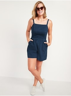 Sleeveless Jean Cami Romper for Women -- 3.5-inch inseam