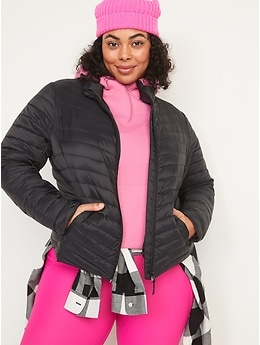 Water-Resistant Narrow-Channel Packable Puffer Jacket for Women