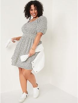 Puff-Sleeve Waist-Defined Smocked Mini Dress for Women