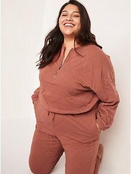 Crew-Neck Half-Zip Quilted Sweatshirt for Women