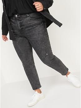 O.G. à taille haute Jean noir droit déchiré, longueur cheville pour Femme