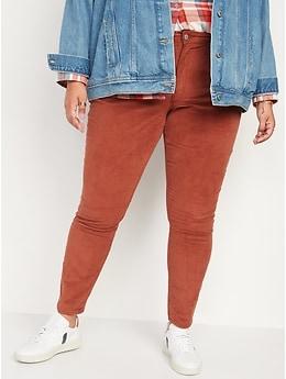 Pantalon en velours côtelé Rockstar à taille haute, coupe super ajustée pour Femme