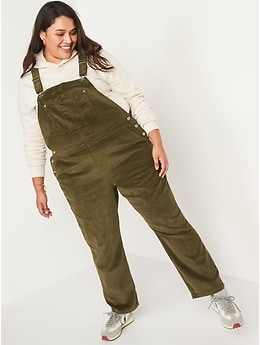 Slouchy Straight Button-Fly Corduroy Workwear Overalls for Women