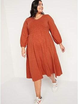 Long-Sleeve Fit & Flare Slub-Knit Midi Dress for Women