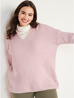 Slouchy Shaker-Stitch Tunic Hoodie for Women