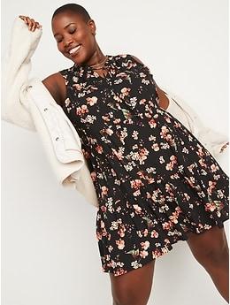 Sleeveless Floral-Print Mini Swing Dress for Women