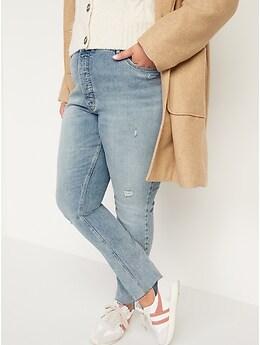 Jean Pop Icon ajusté à taille très haute avec braguette à boutons et ourlets effilochés pour Femme