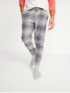 Plaid Flannel Jogger Pajama Pants for Men