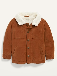 Unisex Corduroy Sherpa-Lined Trucker Jacket for Toddler