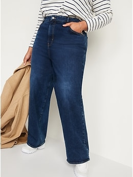 Extra High-Waisted Dark-Wash Wide-Leg Jeans for Women