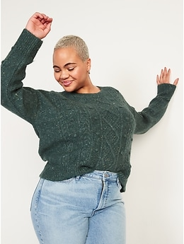 Speckled Cable-Knit Popcorn Sweater for Women