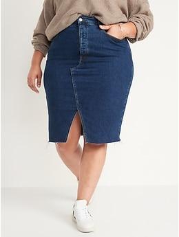Higher High-Waisted Button-Fly Dark-Wash Jean Pencil Skirt