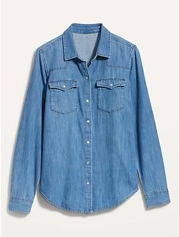 Medium-Wash Western Jean Shirt for Women