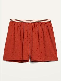 Short de pyjama en tissage doux à taille haute pour Femme, entrejambe de 10cm