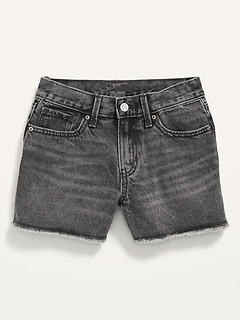 High-Waisted Gray Non-Stretch Cut-Off Jean Shorts for Girls