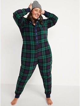 Matching Printed Microfleece Hooded One-Piece Pajamas for Women